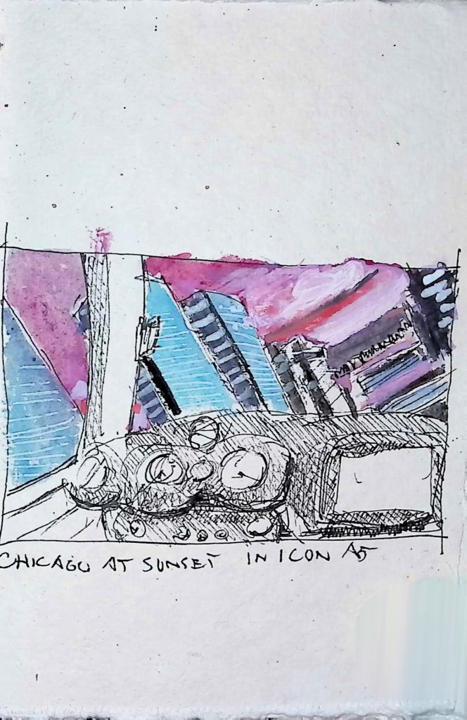 Chicago at Sunset in Icon A5 Virtual Flight Sketch